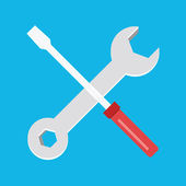Vector Wrench And Screwdriver Icon — Stock Vector