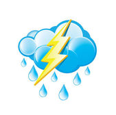 Rain With Lightning Icon — Stock Vector