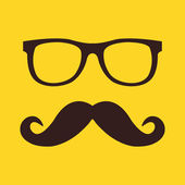 Vector Mustache and Glasses Icon — Stock Vector