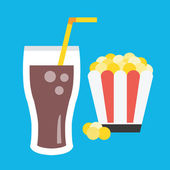 Vector Lemonade and Popcorn Icon — Stock Vector
