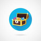Icône de coffre de trésor vecteur — Vecteur