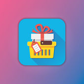 Vector Shopping Cart with Gift and Tag Icon — Vecteur