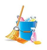 Bucket With Detergents — Stock Vector