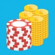 Vector Golden Coins and Casino Chips Stacks Icon — 图库矢量图片