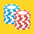 Vector Two Stacks of Casino Chips Icon — Imagens vectoriais em stock