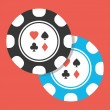 Vector Two Poker Chips Icon — Stockvektor