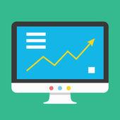 Vector gráfico de negocios en icono de pantalla — Vector de stock