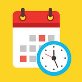 Vector Calendar and Clock Icon — Stockvektor