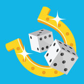Vector Dice and Horseshoe Icon — Stock Vector