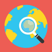 Vector Earth Globe and Magnifying Glass Icon — Vector de stock