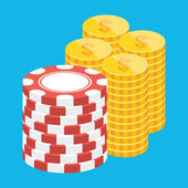 Vector Golden Coins and Casino Chips Stacks Icon — Stock Vector