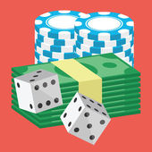 Vector Money and Poker Chips Stacks and Dice Icon — Stockvector