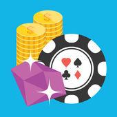 Do vetor poker chip rubi e ouro moedas ícone — Vetor de Stock