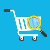 Vector Shopping Cart and Magnifying Glass Icon — Stock Vector