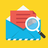 Vector Search Opened Envelope Icon — Stock Vector