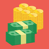 Vector Stacks of Dollars and Golden Coins Icon — Vector de stock