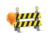 Road Barrier With Hard Hat — Stock Vector
