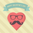 Vector Vintage Happy Valentine's Day Illustration — Stok Vektör
