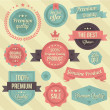 Vector Vintage Badges and Ribbons Set — Vettoriale Stock
