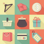Vector Vintage Shopping Flat Icons Set — Stock Vector