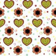 Stock Vector: Heart And Flowers Pattern