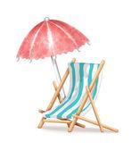 Deck Chair and Umbrella — Stock Vector
