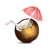 Coconut with Umbrella and Straw — Stock Vector