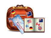 Passport, Airline Boarding Pass Ticket and Luggage — 图库矢量图片