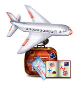 Passport and Airline Boarding Pass Ticket and Luggage — 图库矢量图片