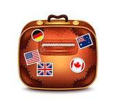 Suitcase With Stamps — Stock Vector