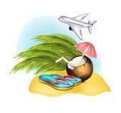 Pantofle, kokos na písku — Stock vektor