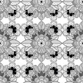 Black and White Floral Ornamental Pattern — Vettoriale Stock