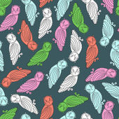 Colorful Owls Pattern — Stock Vector