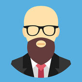 Vector Bald Man with Beard and Glasses Icon — Stock Vector