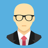 Vector Bald Man in Business Suit Icon — Stock Vector