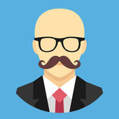 Vector Bald Man with Mustache in Business Suit Icon — Vecteur