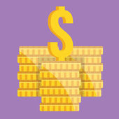Vector Coin Stacks and Dollar Sign Icon — Stock Vector