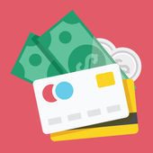 Vector Credit Cards and Money Icon — Stock Vector