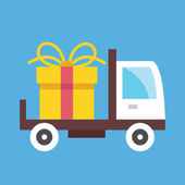 Vector Delivery Truck and Gift Box Icon — Stock Vector