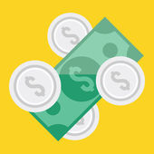 Vector Dollar Bill and Coins Icon — Stock Vector