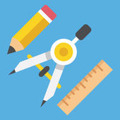 Vector Drawing Compass Pencil and Ruler Icon Web Design Concept — Stockvektor