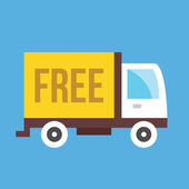 Vector Free Shipping Truck Icon — Stock Vector