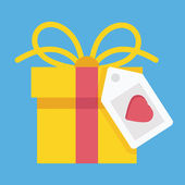 Vector Gift Box and Label with Heart Shape Icon — Stock vektor