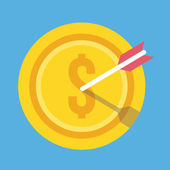 Vector Gold Coin and Arrow Icon Successful Business Concept — 图库矢量图片