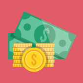 Vector Gold Coin Stacks and Dollar Bills Icon — Stock Vector
