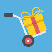 Vector Hand Truck and Gift Box Icon Gift with Delivery Concept — Stok Vektör