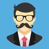 Vector Man with Mustache in Business Suit Icon — Stock Vector