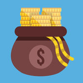 Vector Opened Money Bag Full of Gold Coin Stacks Icon — Stockvector
