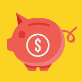 Vector Piggy Bank and Dollar Sign Icon Savings Concept — 图库矢量图片