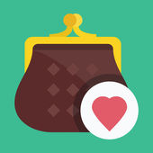 Vector Purse and Heart Shape Icon — Stock Vector
